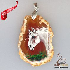 UNIQUE CRYSTAL DRUZY AGATE SLICE HAND PAINTED HORSE PENDANT ZL8013816 | Crafts, Handcrafted & Finished Pieces, Handpainted Items | eBay!
