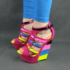 I like these! :)  #pinkwedge #pinkplatformwedge #strappywedge