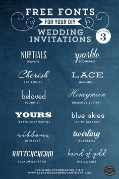 Free Fonts for DIY Wedding Invitations – Volume 3 || Elegance&Enchantment  ~~ {12 free fonts w/ easy download links - Nella Sue can be downloaded from 1001 Free Fonts}