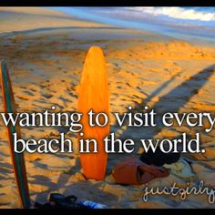 My bucket list! I've already started going to every California beach!!! I'll go to other states, too! And other countries!