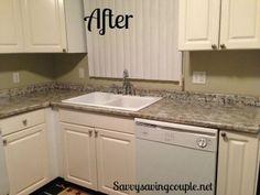 Giani granite countertop paint DIY: Faux Granite Kitchen Countertops Using Giani Granite Paint