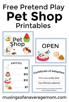 Free pretend play pet shop printables including 3 signs, prices and pet adoption certificate My daughter loves 'stuffies' I feel like we have thousands although it's probably only in the hundreds. Dramatic Play Area, Dramatic Play Centers, Preschool Centers, Free Preschool, Pet Theme Preschool, Preschool Printables, Preschool Education, Party Printables, Art Education
