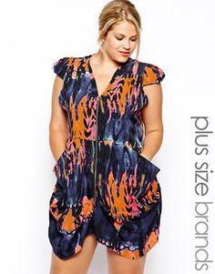 db95fbc47b AX Paris Plus Size Front Zip Dress In Lightening Print at asos.com