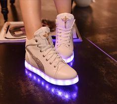 White High top LED shoes EDC light uo shoes Coachella Burningman SIZE 7
