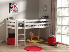 Pino Kids Mid Sleeper in White Kids Mid Sleeper Beds, High Sleeper Bed, Extra Storage Space, Storage Spaces, White Kids Bed, Bed With Wardrobe, Play Beds, High Beds, Bed With Slide