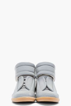 MAISON MARTIN MARGIELA Grey Reflective Python-Embossed High-Top Sneakers