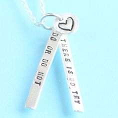 handstamped inspirational quote necklace by by ChocolateAndSteel,
