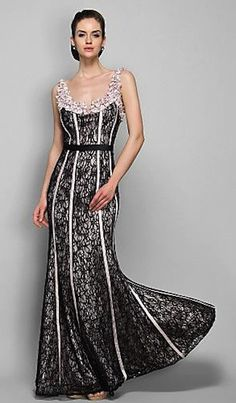 If only I had somewhere to wear this beautiful dress...satin & lace evening dress