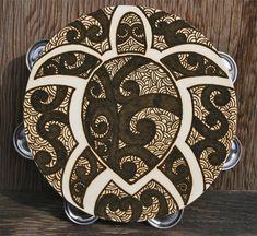Henna Hawaiian Turtle Tambourine, Polynesian style sea turtle, Henna Art Tambourine