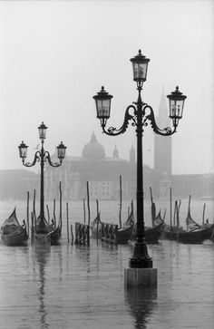 lamposts and gondolas, venice, 1962 - by dmitri kasterine