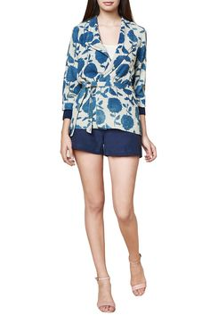 INDIGO BLUE BLOCK PRINTED OVERLAP JACKET...For This Top Mail Us At contact@ladyselection.com