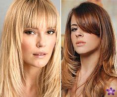 cabelos compridos escadeados com franja - Pesquisa Google
