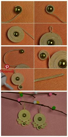 Lerne von h - Diy Schmuck - Fabric Jewelry, Wire Jewelry, Jewelry Crafts, Jewellery Box, Jewellery Making, Jewelry Ideas, Jewellery Designs, Wooden Jewelry, Jewelry Holder