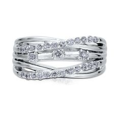 BERRICLE Sterling Silver 0.45 ct.tw CZ Woven Right Hand Ring ($75) ❤ liked on Polyvore featuring jewelry, rings, clear, sterling silver, women's accessories, cz engagement rings, sterling silver cz rings, cz rings, braided ring and anniversary rings