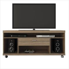 Ansonia Chocolate MDF 4 Shelf & 1 Drawer Rolling Wheels TV Stand