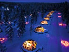 hotel & igloo village kakslauttanen in lapland, finland - front row seat to see the northern lights too.