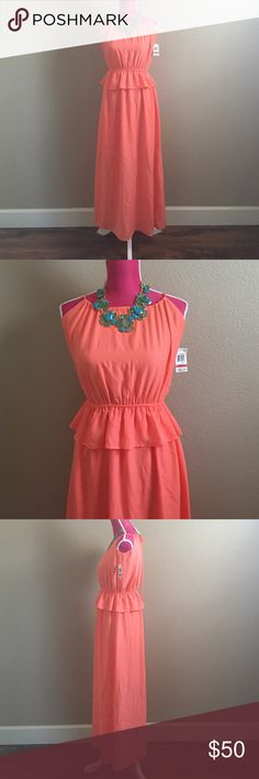Bar III orange peplum maxi dress The top will look more loose because my maniquen is a size medium. Peplum on the waist. Tie back with key hole. Adorable and brand new. Has lining, mini dress. Offers welcome through offer tab. No trades. 10607161111 Bar III Dresses Maxi