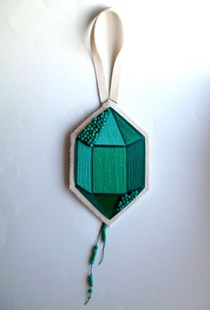 #Textile #wallhanging hand #embroidered faux gem by #AnAstridEndeavor