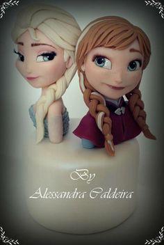 Disney Frozen Anna  Elsa fondant Anna Frozen Cake, Disney Frozen Cake, Anna Cake, Frozen Theme, Olaf Frozen, Fondant Toppers, Fondant Cakes, Cupcake Cakes, Frozen Birthday Party