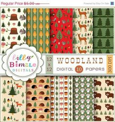 50 off Woodland Digital papers with Forest animals von LillyBimble, $2.50