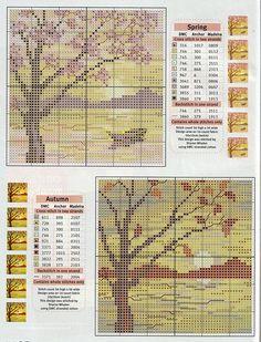 seasonal cross stitch lake mountain tree