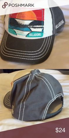 Cute billabong hat! Gently used billabong hat with sunset like design on front. adjustable back. ❤️bundle 3 or more items from my closet to receive 15% off your total❤️ Billabong Accessories Hats