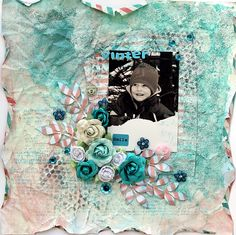Winter layout with color misting and modeling paste for texture
