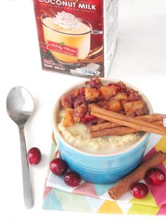 Eggnog Zucchini Oatmeal with Apple-Cranberry-Chestnut Compote #oatmealartist #vegan