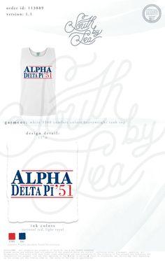 Alpha Delta Pi | ADPi | Campaign Theme Shirt | Patriotic | American | Red White and Blue | Sisterhood | Bid Day | Election Year | Recruitment | South by Sea | Greek Tee Shirts | Greek Tank Tops | Custom Apparel Design | Custom Greek Apparel | Sorority Tee Shirts | Sorority Tanks | Sorority Shirt Designs