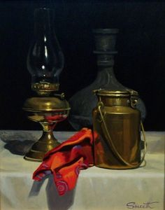 Brass Lamp & Milk Can 2002 Oil on canvas Still Life 2, Be Still, Great Works Of Art, Still Life Oil Painting, Art Thou, Milk Cans, Brass Lamp, Light Reflection, Oil Lamps