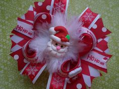 Santa Christmas Hair Bow by RubySweets on Etsy
