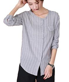 5123d58817 Zago Womens Striped Flax Cotton Comfortable Casual Tops Shirt Gold US L **  Click for Special Deals