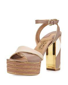 Gaga Patchwork Leather Platform Sandal, Nutmeg by Salvatore Ferragamo at Neiman Marcus.