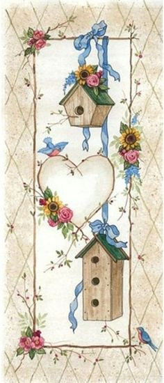 Country Style - birdhouses and heart