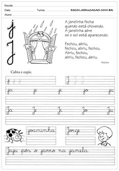 Atividade de caligrafia letra J