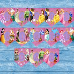 Great Princess Happy birthday Banner with all your favorites from frozen, tangled, beauty and the beast, aladin, the little mermaid, snow white, cinderella, and the frog prince