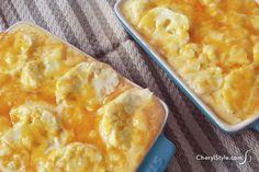 Baked cheesy cauliflower casserole recipe