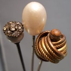 Lot 3 Antique Hat Pin Gold Pearl Rhinestones Vanity Pins Vintage | eBay