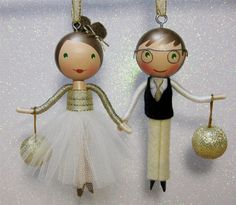 Custom Clothespin Doll Christmas Tree Ornament by enchantedbelles
