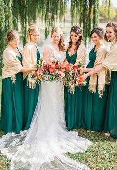 Bridesmaids in emerald green, tan shawls // Sarah Houston Photography