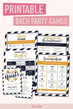 It's not a bachelorette weekend without a few fun games to get the party started! We created four classic and fun nautical-themed bachelorette party activities the entire bride squad will love. Choose from a Bachelorette Party Scavenger Hunt, Drink If Drinking Game, Groom Quiz, Bridal Trivia or purchase the bundle and get one game free! Pair with matching bachelorette party invitations, cups, coozies and shirts from our Let's Get Nauti Bachelorette Party Collection to complete the theme. Bachelorette Party Scavenger Hunt, Bachelorette Party Activities, Nautical Bachelorette Party, Bachelorette Party Invitations, Bachelorette Weekend, Party Games, Fun Games, Nautical Theme, Games