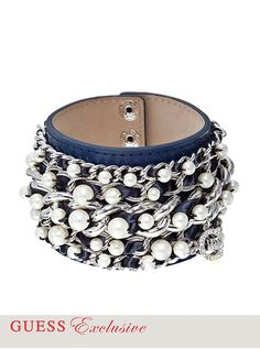 Glass Pearl and Leather Cuff Bracelet | GUESS.com