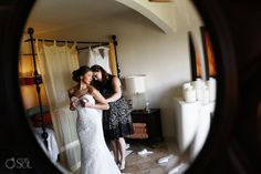 Bride getting ready for her destination wedding at @Secrets Maroma Beach Resort & Spa in the Riviera Maya. Mexico wedding photographers Del Sol Photography.