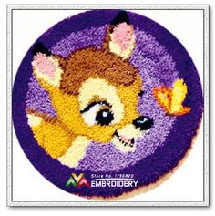 New Latch Hook Rug Kits DIY Needlework Unfinished Crocheting Rug Yarn Cushion Mat Embroidery Carpet Rug Hello Deer and Butterfly