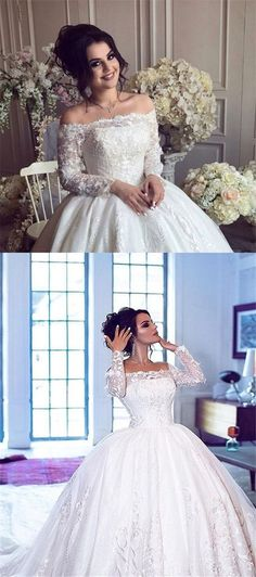 elegant off the sholder long sleeves lace bridal dress with appliques, luxury ball gown off the shouder wedding dress with lace appliques