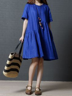 Casual Loose Pure Color Short Sleeve O-neck Women Dress