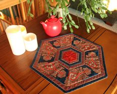 Quilted 60 Degree Table Topper, Runner, Handmade Candle Mat, Snack Mat, Mug Rug, Floral Mini Quilt cranberry, navy blue, gold Decor, Handmade Items, Etsy, Handmade Candles, Handmade Table Runner, Beautiful Handmade, Table Decorations, Coasters, Decorating Your Home