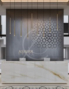 , The clear-cut marble reception desk with. , The clear-cut marble reception desk with cream streaks is backed with a laser-cut wooden screen, ornamented wi. Design Entrée, Design Room, Wall Design, Screen Design, Design Ideas, Hotel Lobby Design, Modern Hotel Lobby, Hotel Design Architecture, Luxury Hotel Design