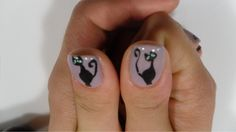 Black cats nail art! Cat Nail Art, Cat Nails, Cool Nail Designs, Paint Designs, Nail Arts, Make It Yourself, Black Cats, Fun, Painting