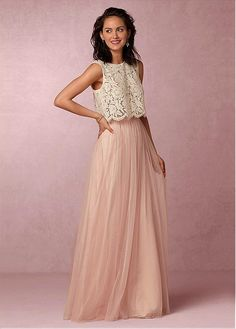 Marvelous Lace & Tulle Jewel Neckline Two-Piece A-line Bridesmaid Dresses With Beadings
